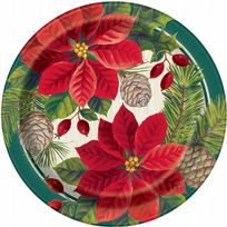 "Red & Green Poinsettia Christmas 7"" Paper Plates (8)"